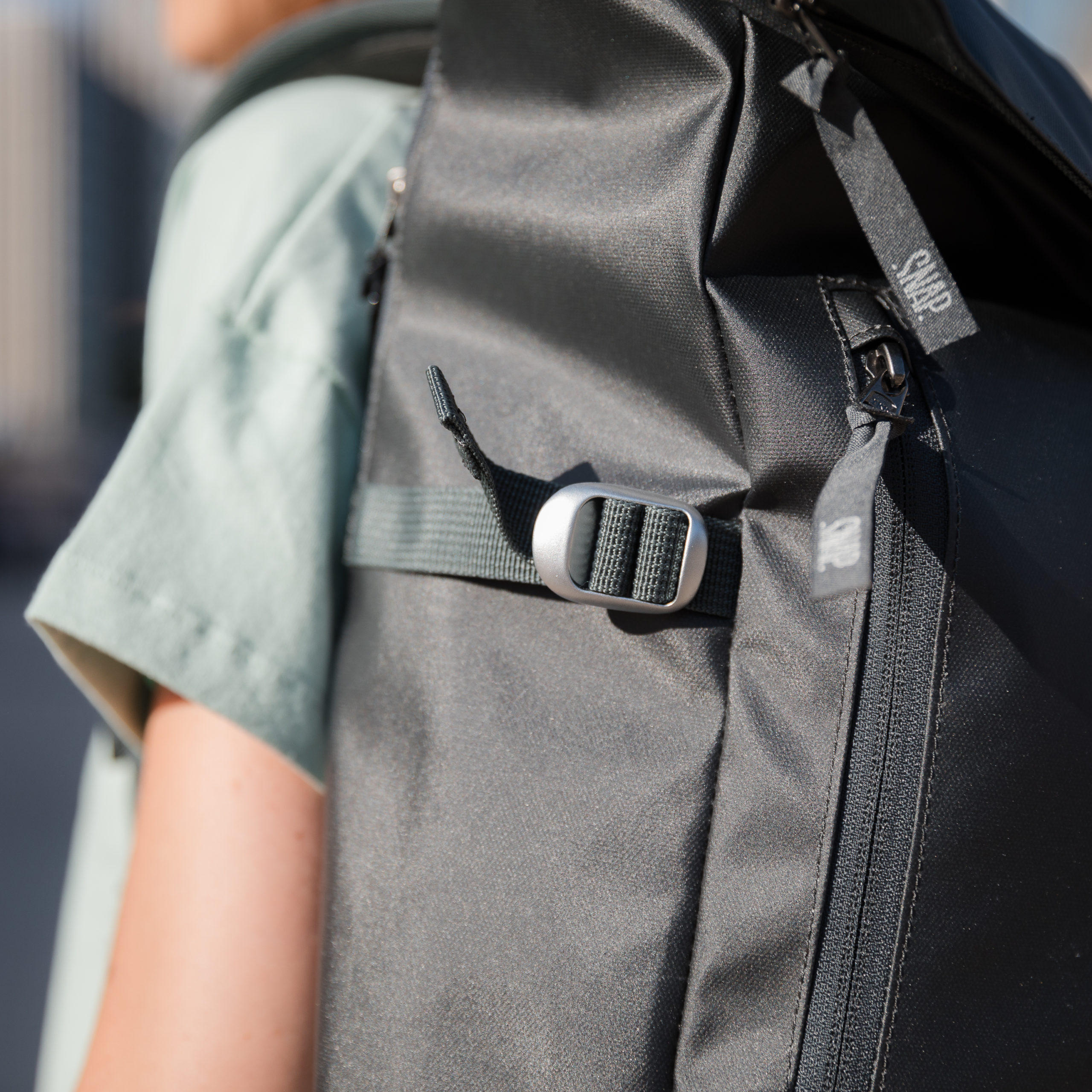 detail dark grey backpack