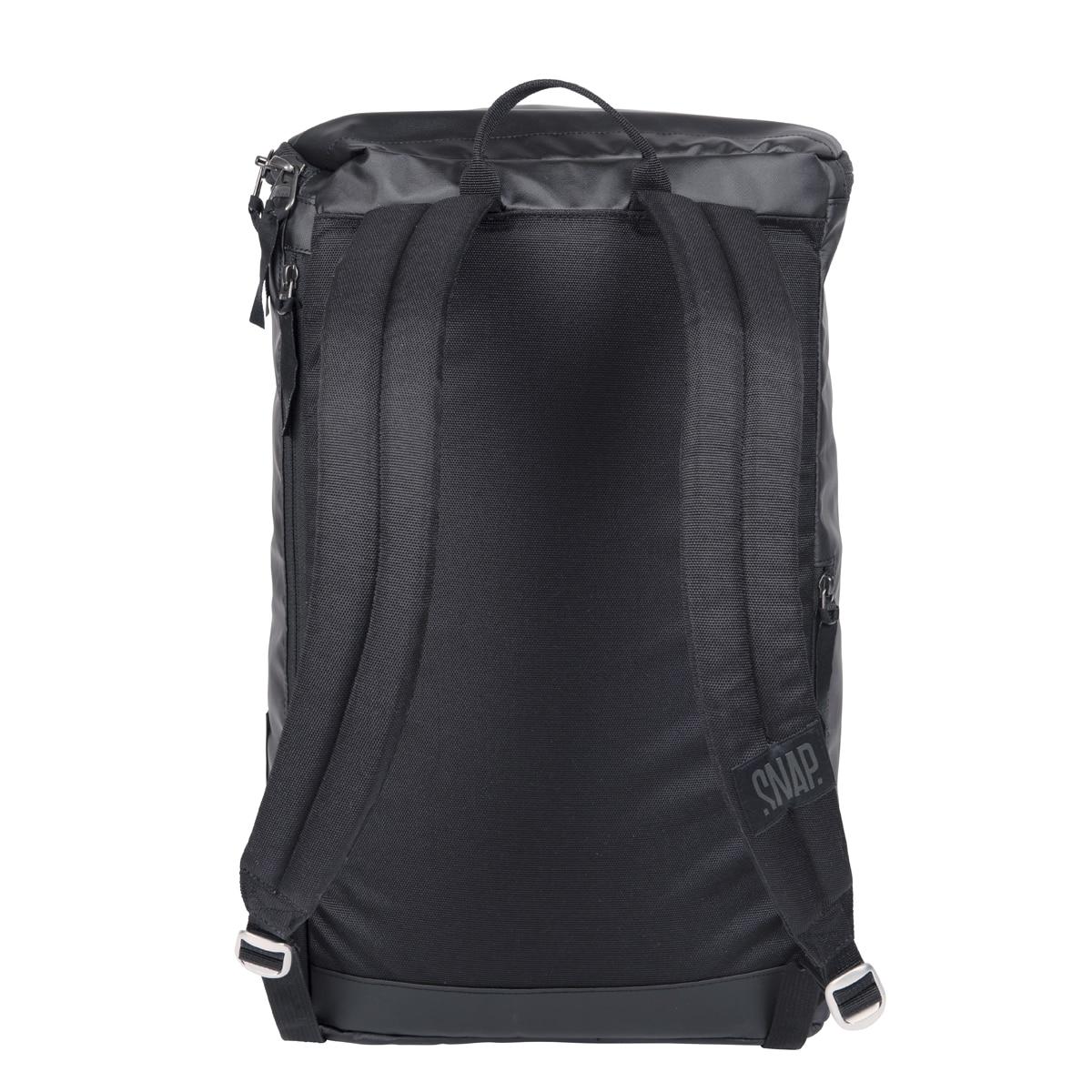 black backpack compact back side