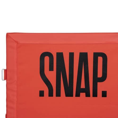 logo detail snap climbing crash pad