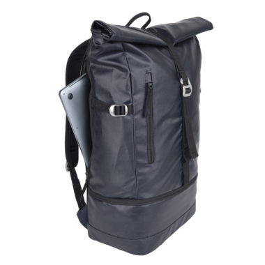 laptop backpack navy blue and black