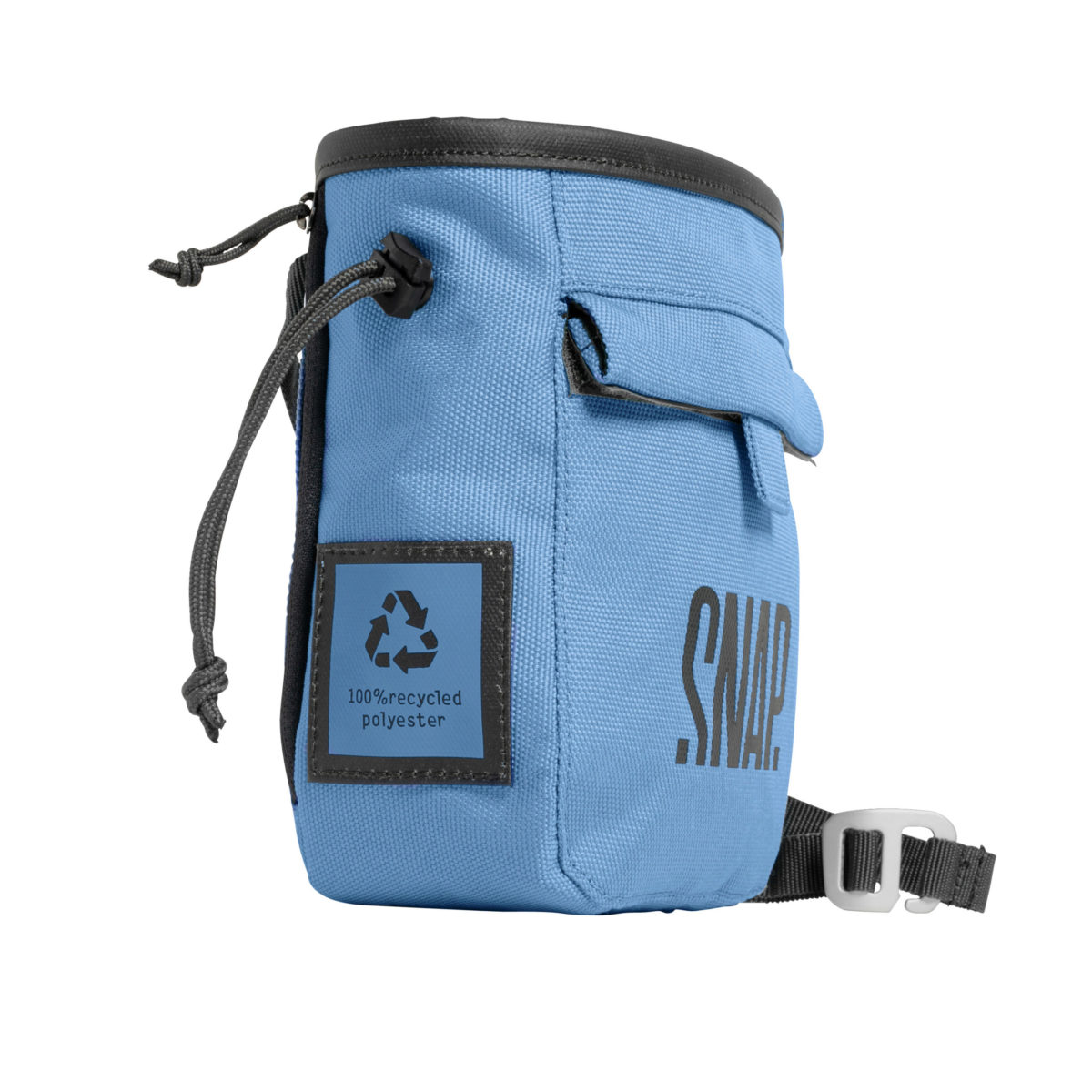 individual blue chalk bag with a belt