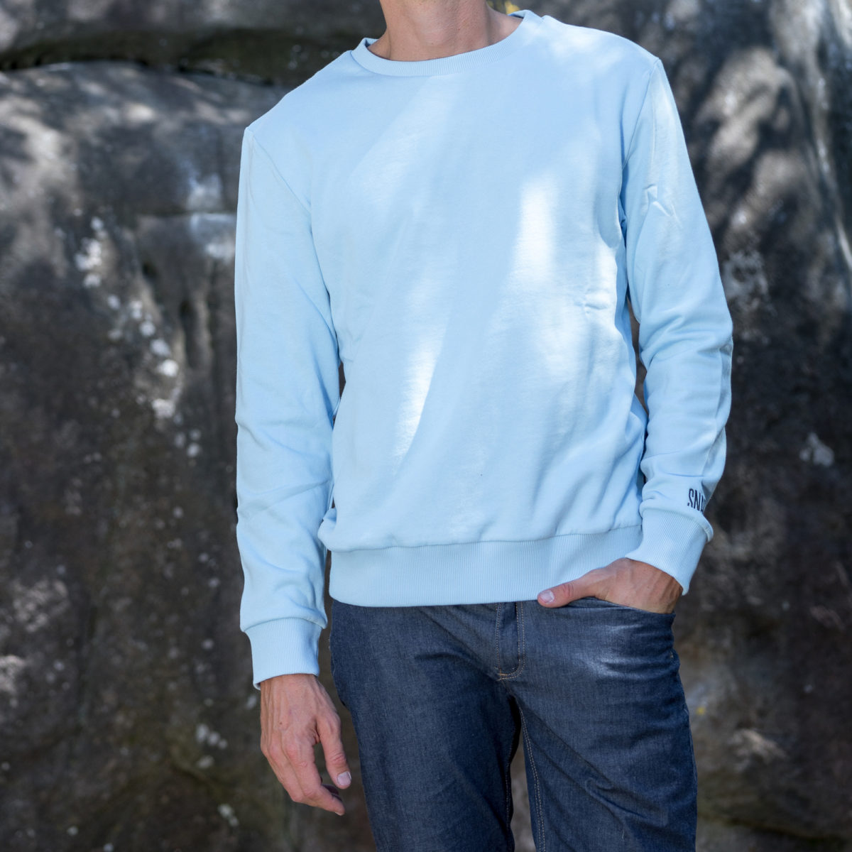 organic cotton sweater light blue