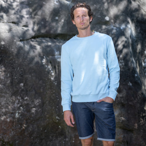 organic cotton sweater for man light blue outdoor