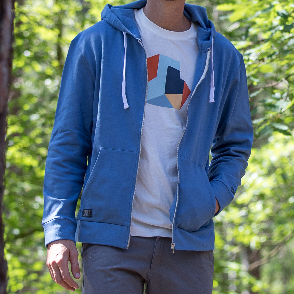 zip hoody in organic cotton