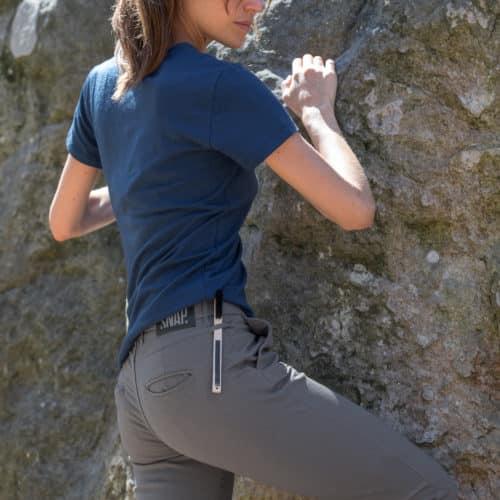 grey chino pants brush holder detail