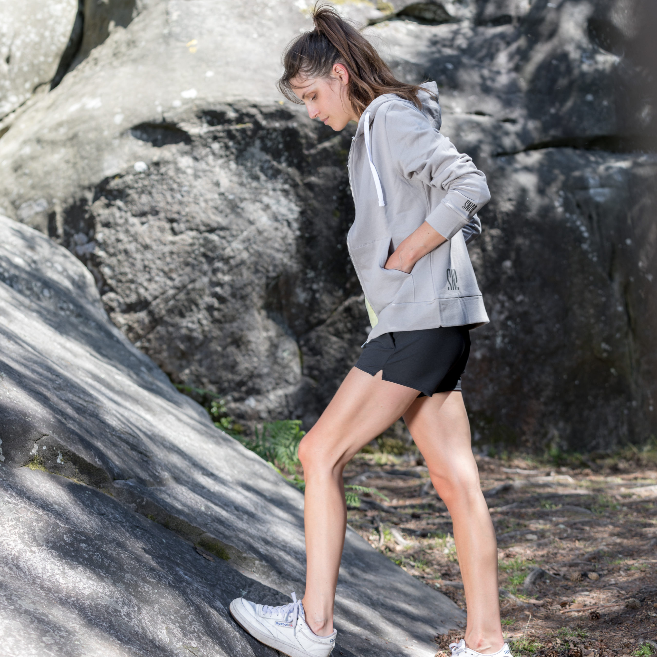 black wave shorts woman snap climbing