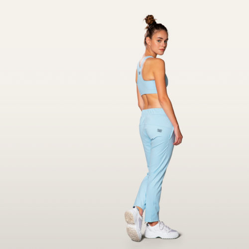 light blue stretch pants jogger style