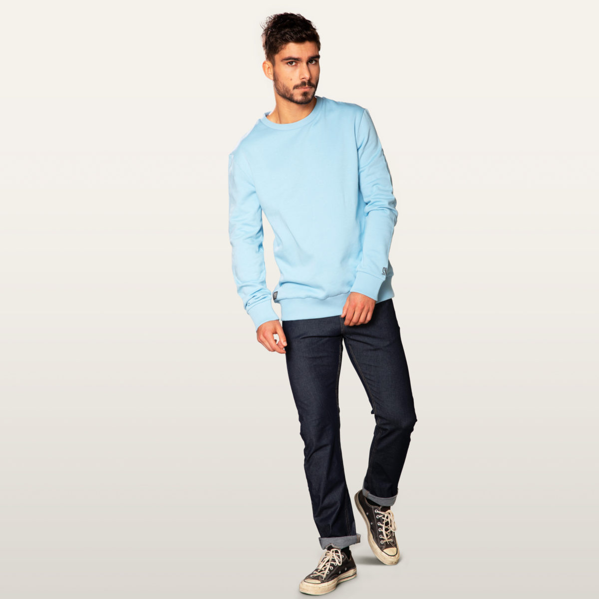 light blue sweater organic cotton