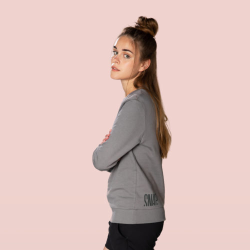 organic cotton grey sweater snap climbing side