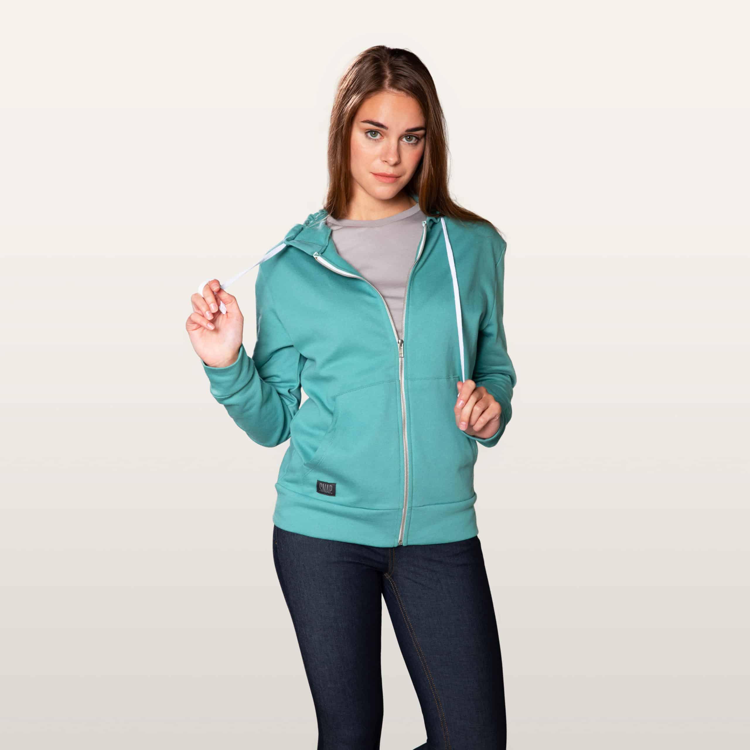 green zip hoodie detail