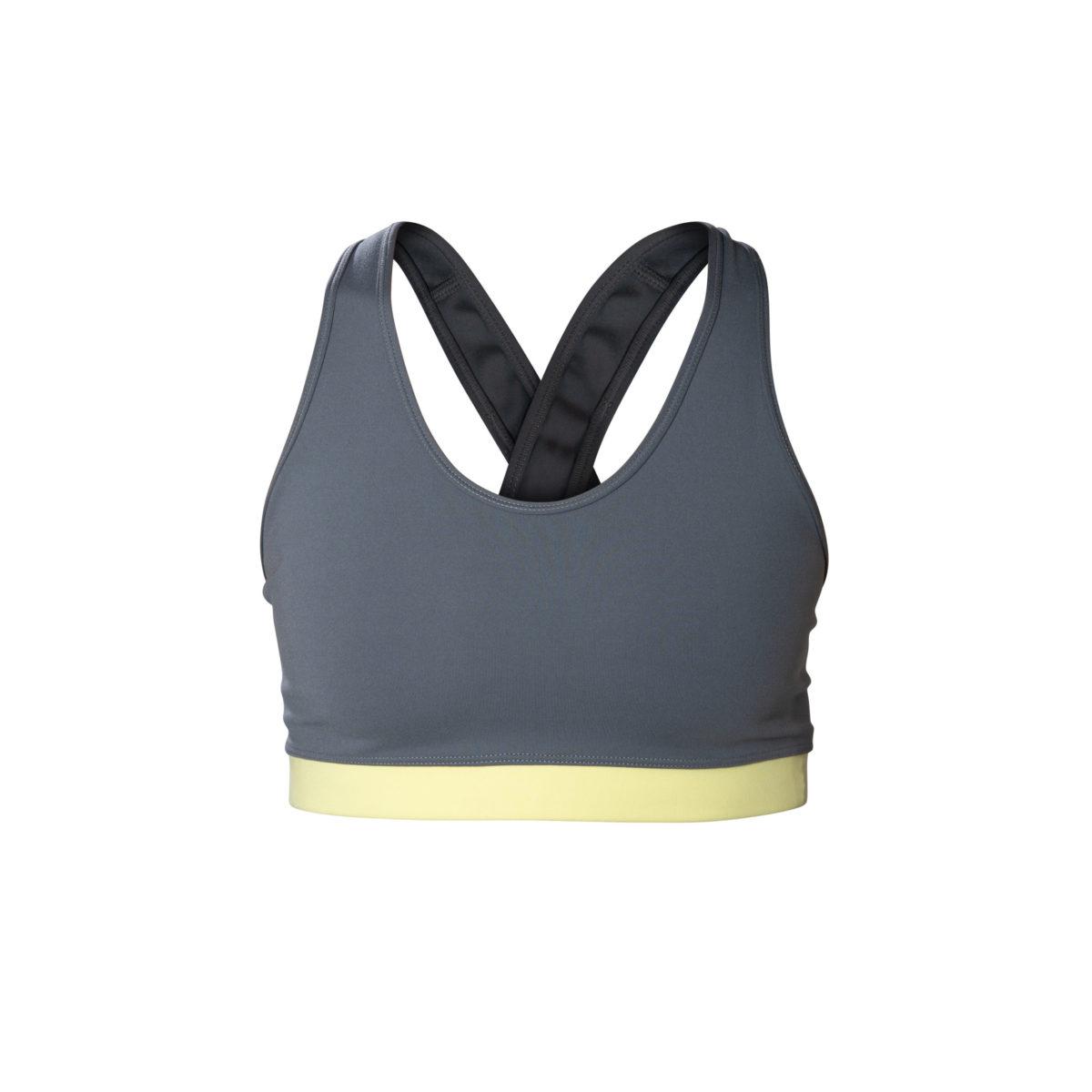 grey crossed bra front view