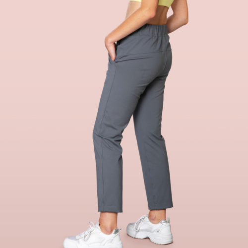 grey jogger pants detail