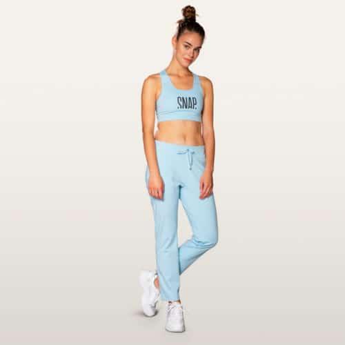 light blue jogger pants snap climbing