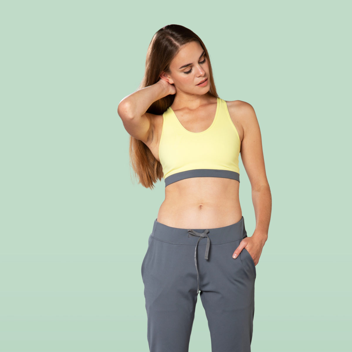 yellow sports bra front view