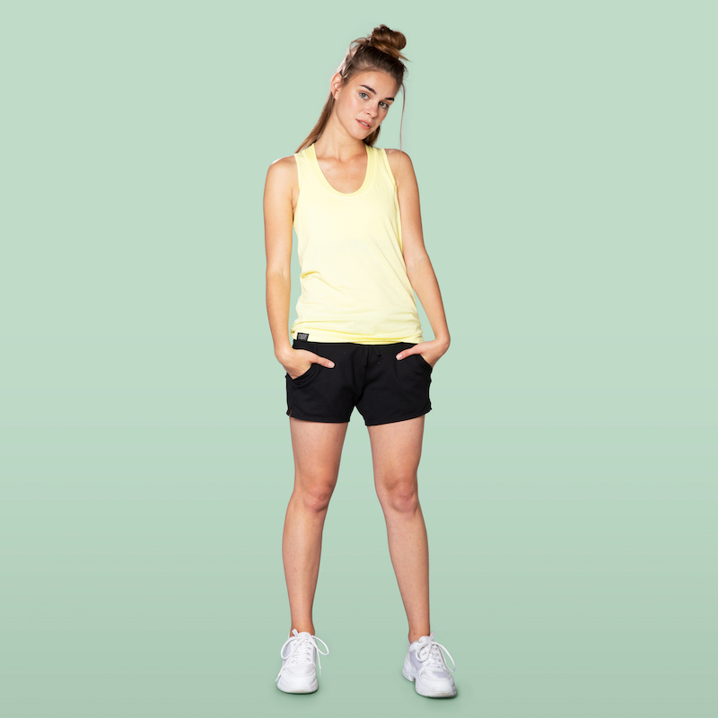 fit tank top yellow and black stretch shorts