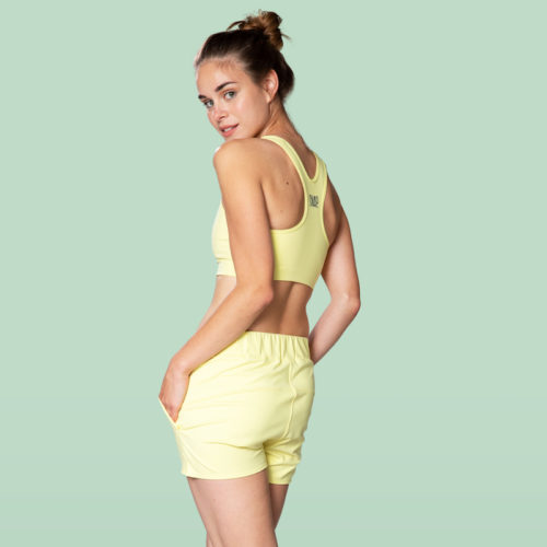 yellow shorts relaxed cut
