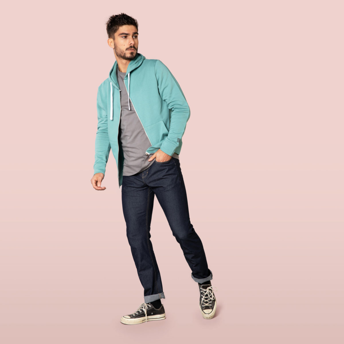 green hoody front for man