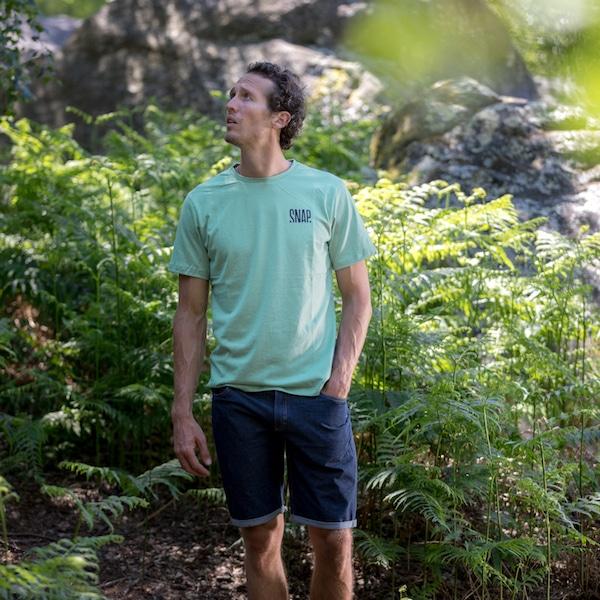 light green t-shirt for man in hemp