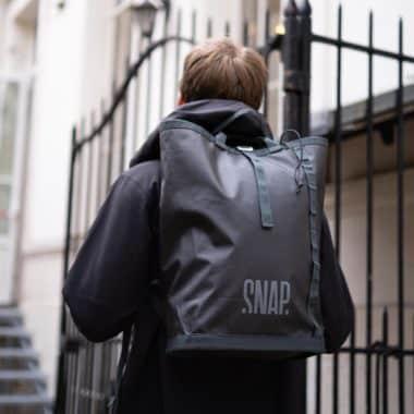 light black backpack urban style