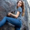 dark grey merino t-shirt and skinny jeans