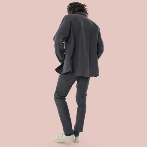 black denim stretch pants for man