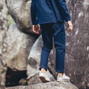 large chino pants to climb dark blue