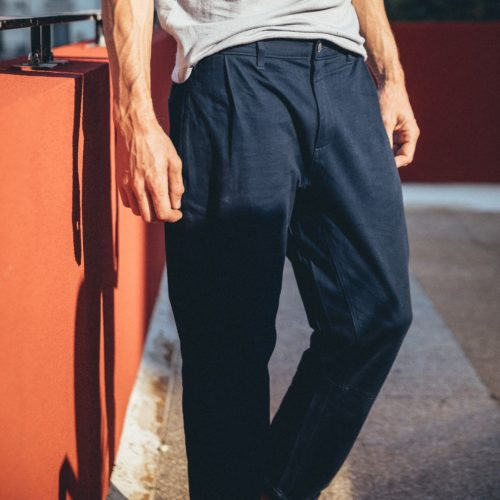 large chino pants to climb dark blue
