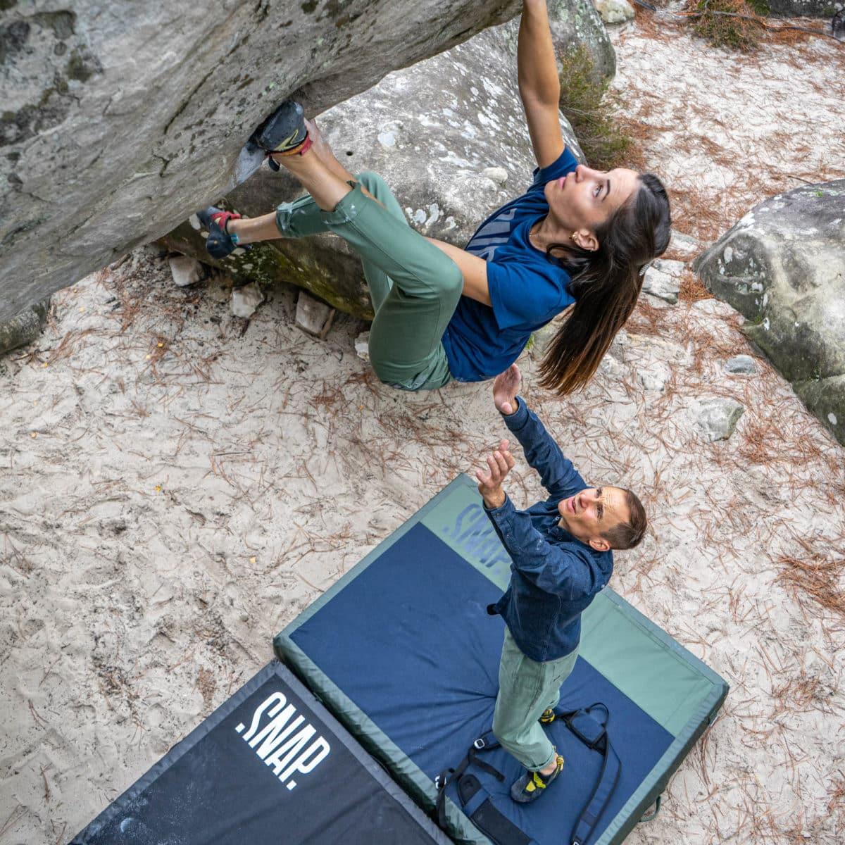 slim high rise woman climbing