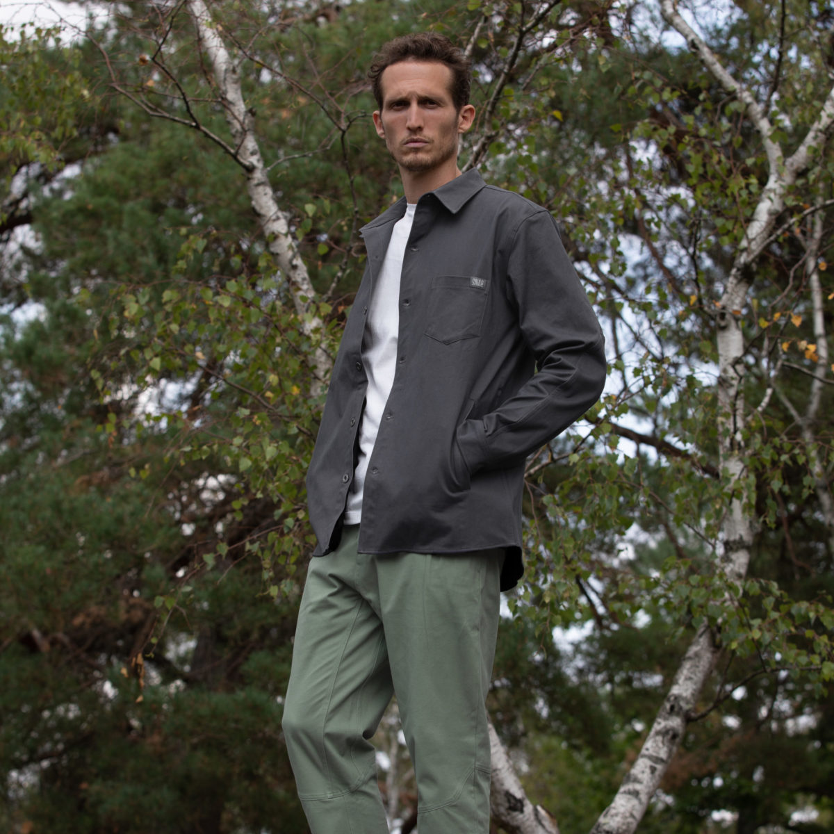 grey overshirt for man