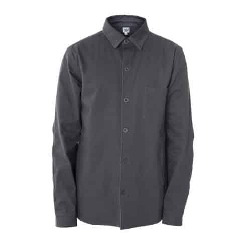 man grey overshirt to climb