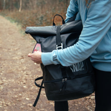 phone pocket of the snap roll top backpack