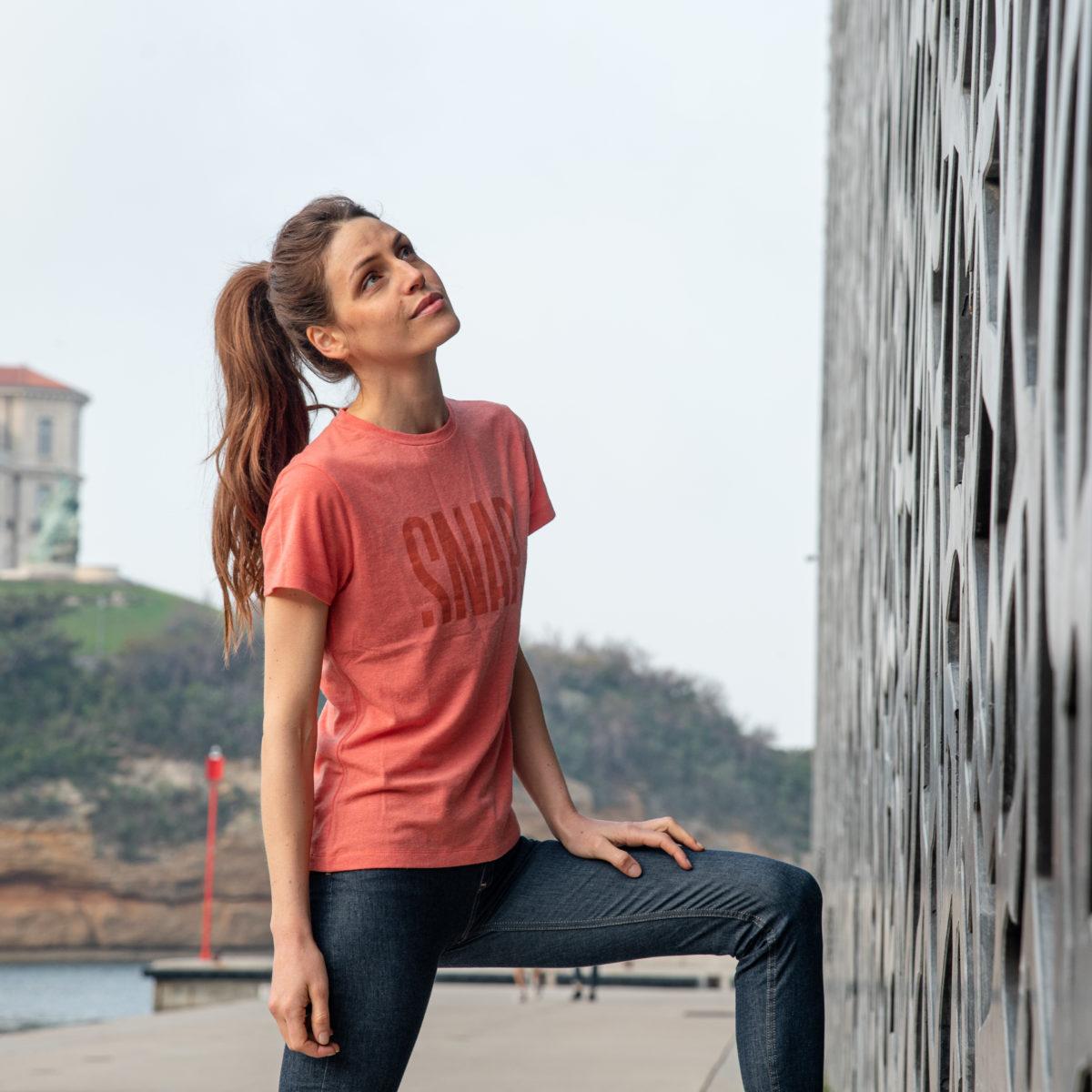 merino wool t-shirt for active woman emberglow